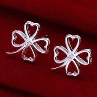 E101 Wholesale 925 silver earrings, 925 silver fashion jewelry, Four-leaf Clover Earrings 18k, Plated.Gold ,Women ,zircon