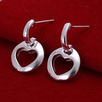 E124 Wholesale 925 silver earrings, 925 silver fashion jewelry, Hollow Heart Earrings 18k, Plated.Gold ,Women ,zircon