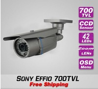 Free shipping Sony effio-e 700TVL IR CCTV bullet waterproof security surveillance video monitor camera install system zoom lens