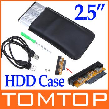 "2.5"" 2.5 inch USB 2.0 HDD Case Hard Drive Disk SATA External Storage Enclosure Box freeshipping dropshipping Wholesale"