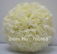 Free shipping 30cm*10pcs Rose kissing ball artificial silk flower wedding party decoration cream/ivory color