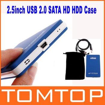 2.5 inch USB 2.0 SATA HDD  Case HD Hard Drive Disk Enclosure Blue Color bb