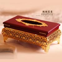 Ktv imitation wood gold plated tissue box tissue box tissue box