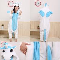 NEW Adult Kigurumi Animal Sleepsuit Pajamas Costume Cosplay Onesie Unicorn Blue