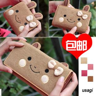 Wallet female plush cartoon purse girls short two-fold design medium long design wallet 4