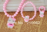 New Hello Kitty necklace bracelet ring Set XL012 Cute Girls' jewelry  6set/lot free shipping hello kitty set