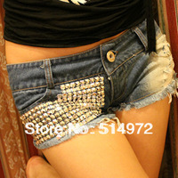 2013 Summer Fashion Women Low Waist Shorts Rive Sequined Lady Denim Shorts Female Tight Jeans Pants Free Shipping
