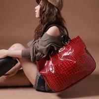 women's handbag patent leather bag ladies stylish stone pattern fashion big shoulder casual tote bags