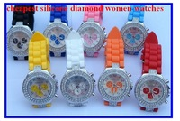 Geneva Crystal Classic watches with 3 eyes ,silicone watch for unisex Hot selling
