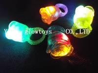 led rose flowers ring for party   night club ring retail led soft rubber  finger ring led finger lights
