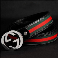 Free shipping new style men and women tricolor brown black color belt G Buckle