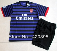 12/13 Arsenal Away Purple / Black Adult Short Sleeve Soccer Jersey Kit Football Uniform Shirt & Shorts W/ Brand Logo Free Ship