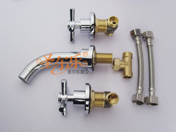 3Pcs Bathroom mixer Tap Sink Bathtub wall mounted brass Faucet set 2147c- thinner wall use(China (Mainland))