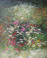 Pure hand-painted oil paintings, luxuriant flowers, free shipping