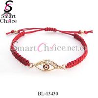 5pcs/lot 2015 rhinestone braided red cord lucky eye jewelry evil eye bracelet