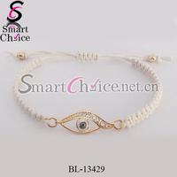 5pcs/lot 2015 rhinestone braided cord lucky eye jewelry evil eye bracelet