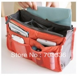 Free shipping 12pcs/lot Large Capacity Functional Storage Cosmetic Bag Holder Women handbag organizer Bag Insert can mix color(China (Mainland))