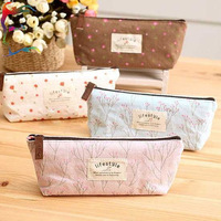 Wholesale 20pcs/Lot fashion flower print canvas stoage bag 4 Color home casual pen makeup tool accept case holder free shipping