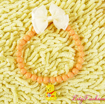 High quality PMMA orange pet collar necklace with lovely bear charm pendant and white bow dog jewelry S M L XL
