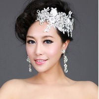 2013 Fashion Items Free Shipping! Rhinestone With Lace Flower Hair Accessories Bridal Tiaras Crown Of Wedding Jewelry QHG014