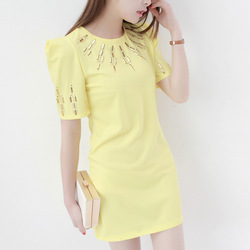 Free shipping taobao 2013 summer o-neck short-sleeve straight rivet metal film inlaying women&#39;s one-piece dress ag336(China (Mainland))