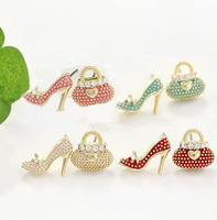 Hot Selling Fashion Cute Bags High-heeled Shoes Asymmetrical Alloy Stud Earring Novelty Personality Creative Earrings Jewelry