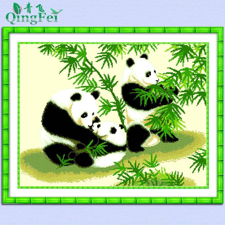 Cloth cross stitch cross stitch bamboo animal(China (Mainland))