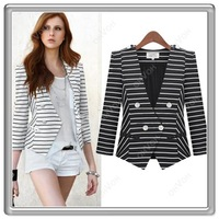 S5QFree Shipping Ladies Striped Double Breasted Collarless V-Neck Waist Length Slim Fit Blazer