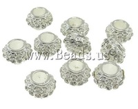 Rhinestone Zinc Alloy European Beads, Drum, nickel, lead & cadmium free, 11x7mm, Hole:Approx 5mm , 10pcs/Bag , Sold by Bag
