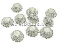 Rhinestone Zinc Alloy European Beads, Drum, nickel, lead & cadmium free, 11x7mm, Hole:Approx 5mm , 10pcs/Bag , Sold by Bag
