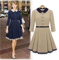 Free Shipping 2013 Women Autumn Winter Apparel High Quality Peter Pan Collar Long sleeve Plus Size Korean Fashion Dress LY121475