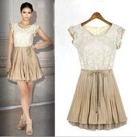 Free Shipping Elegant Women's High Quality 2013 Fashion Lace Women Chiffon Plus Size Women Lace Chiffon Dress with Belt LY121397