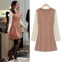 2013 Women Dresses Free Shipping Slim Elegant Princess O-neck Back Zipper Full Sleeve Casual Novelty Korean Style Dress LY121205