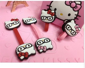 Free Shipping Kawaii Hello Kitty with Glasses Wrap Cable Wire Tidy Earphone Winder Organizer Holder Wholesale