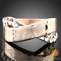 [Arinna Jewelry ]holiday sale lovers ring 18k gold plated real rose gold ring natural crystal birthday gift ring J3017