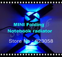 Factory price! USB 2 fan cooling pad MINI LED luminous Foldable cooler for Macbook/Notebook radiator Multicolor Free shipping