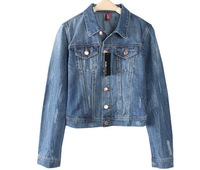 Free shipping Fashion women's military short denim jacket slim woman coat design jeans outwear