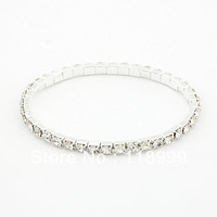 Fashion Single Row Elastic Crystal Bangles 12 Pieces/lot Free Shipping