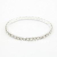 Fashion Single Row Elastic Crystal Bangles 12 Pieces/lot Free Shipping