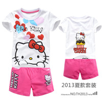 2013 Free shipping hello kitty 100% cotton children's set 6set/lot girls' short sleeve t-shirt+pants suit minnie clothes 2929