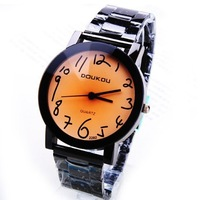 Free Shipping  Cute Arabic Numerals Men Black Stainless Steel Belt Wrist Watches Business Fashion Quartz  Watches