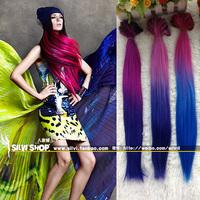 76 multicolour hair extension tablets multicolour gradient hair piece lady long 45cm