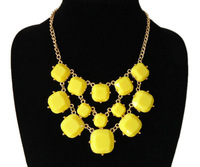 New Arrival gold plated 4 colors resin bib collar women chunky choker Statement Necklace jewelry,free shipping