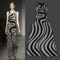 Free shipping! vintage bohemian dress, maxi dress 2013, wave stripes sleeveless chiffon summer dress 3070