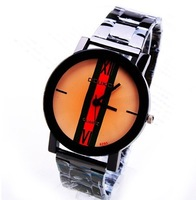 Free Shipping Fashion Simple Styish Men Black Stainless Steel Belt Wrist Watches Business Quartz  Watches