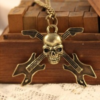 4069 fashion accessories vintage skull guitar musical instrument long design necklace