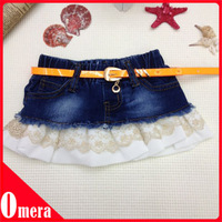 5pcs  Child Wrap Hip Lace Denim Skirt Tassel Waist Skirt
