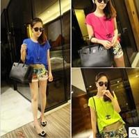 Korean Summer Fashion Elegant Ladies Fluorescent Candy Color Shirt Short Sleeve Neon Color Chiffon Tops Blouses For Women 2013