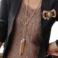 Min Order 15$ Free Shipping Fashion Tassel Imitate Pearl Long Necklace 2013 Wholesale MY