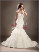 Lace Up Fashion 2014 New Arrival Sexy Mermaid Sexy Back Floor Length Applique White Ivory Layered Formal Wedding Dress Gowns 012